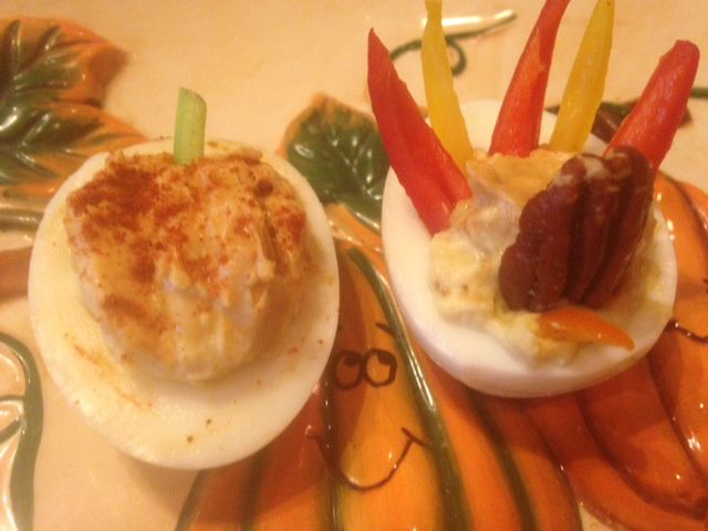 November 2 * National DEVILED EGG Day * THANKSGIVING DEVILED EGGS ~ pumpkins & turkeys ~ smoked paprika or curry * DEVILED EGG POTATO SALAD * PHONY ABALONE for dinner (thinly pounded CHICKEN BREASTS) with Creamy MUSHROOM HERB RICE (almost like risotto, but made with regular white rice ~ easy)