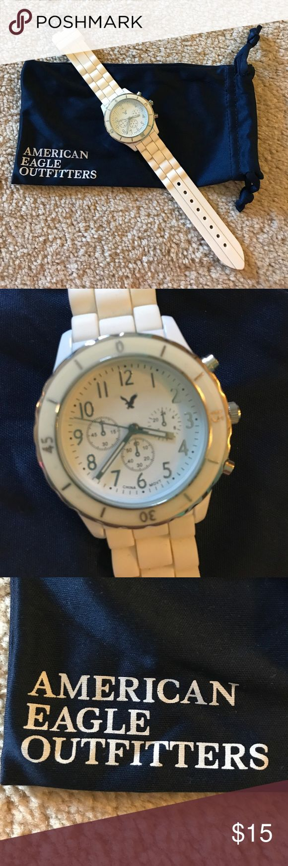 American Eagle Watch Adorable rubber, woven, white watch! Very simple yet stylish and perfect for everyday wear! American Eagle Outfitters Accessories Watches