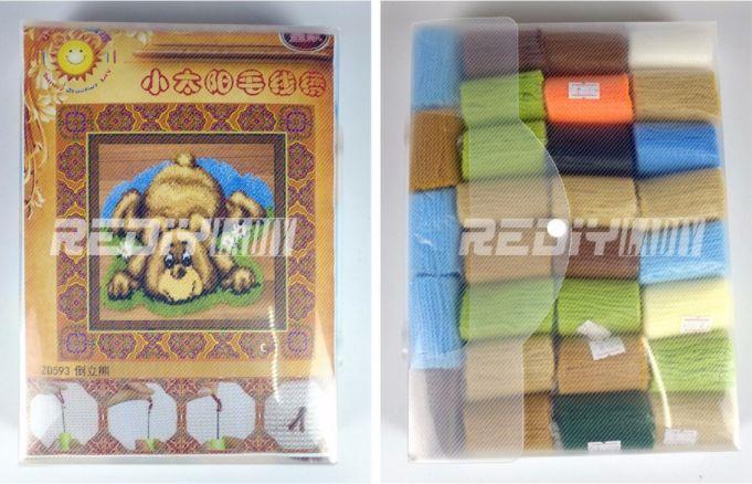 Помимо вязания по схемам клеточками можно также создавать коврики, используя пряжу или же купить готовый набор для создания такого коврика.  Размеры схем: 52х45 см, 85х62 см, 110х85 см.