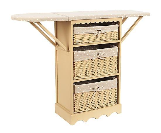Mueble planchador de madera de paulonia y mimbre blanco for Lavado de muebles de madera