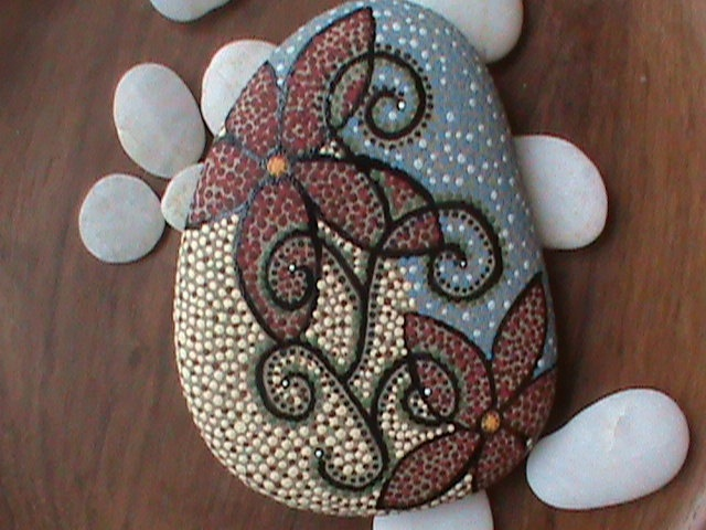 Beach Stone Art/Art on Stone/Painted Rocks/Painted Stones/Lake Erie. $39.99, via Etsy.