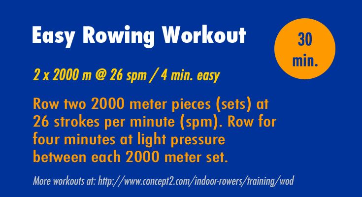Rowing workout of the day from Concept2. Easy workout, 30 min. or less. #Concept2 #rowing #WOD #erg #workout #rowingmachine