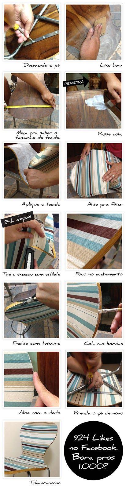 PASSO PASSO Renovando uma cadeira com tecido   Faça Você Mesmo