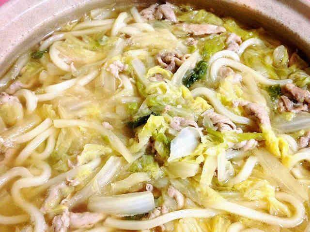 トロトロ白菜と豚肉の絶品うどん鍋の画像