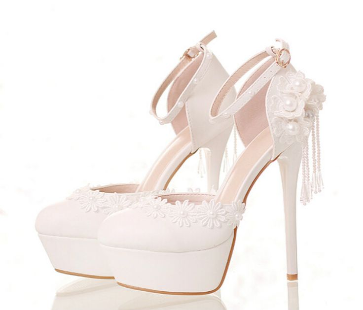 >> Click to Buy << White lace flowers bridal shoes High with waterproof round shoes summer wedding Shoes and sandals summer #Affiliate