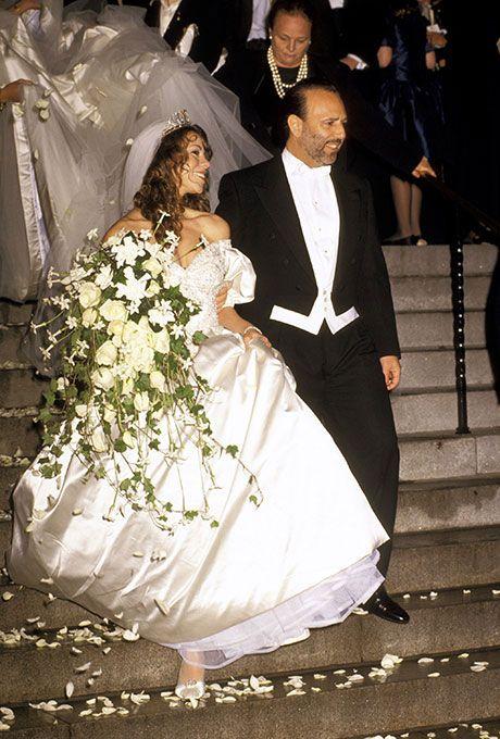 Brides.com: . Mariah Carey marries Tommy Mottola in Vera Wang, 1993.
