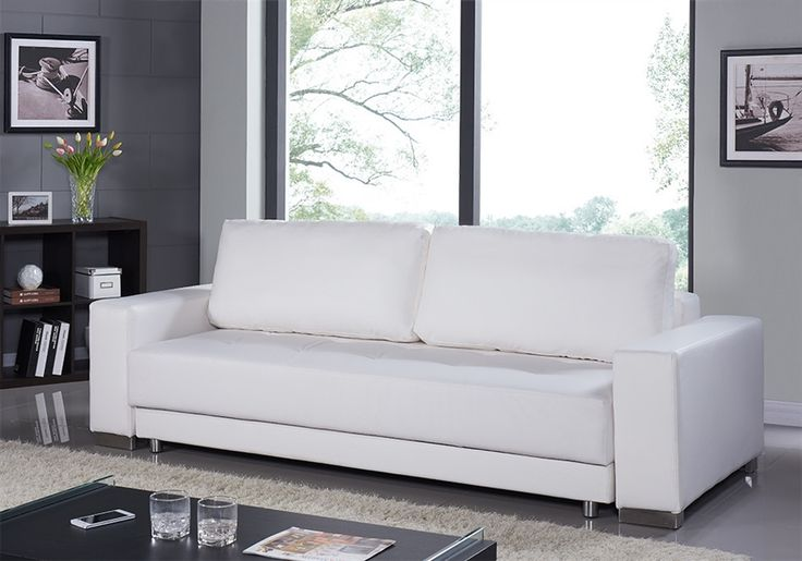 Casabianca CLOE White Eco-Leather Sofa Bed