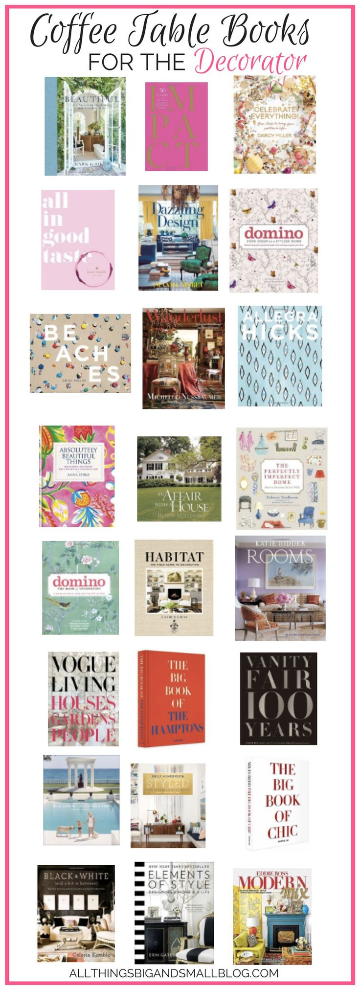 Best Coffee Table Books | Best coffee table books for decor lovers | best interior design books | best decorating books | All Things Big and Small