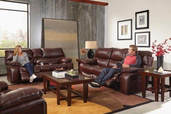 Catnapper - Camden 3 Piece Power Lay Flat Reclining Living Room Set in Walnut - 64081-64089-64080-7-1152-19/1252-19