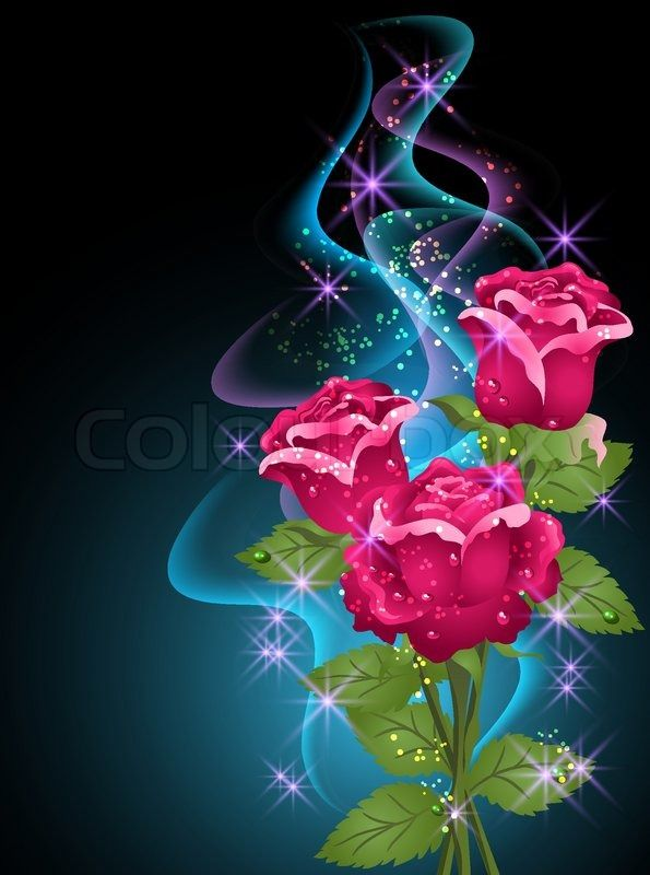 stock vector of 'roses and stars'