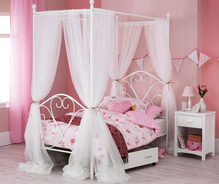 Perfect for your princess an enchanting design in wrought iron, finished by hand in white gloss. Full size 3ft single bed which is a beautifully ornate 4 poster bed with drapes included. #childrensfunkyfurniture #fourposterbed #princess #drapes #girly #bed #furniture #children