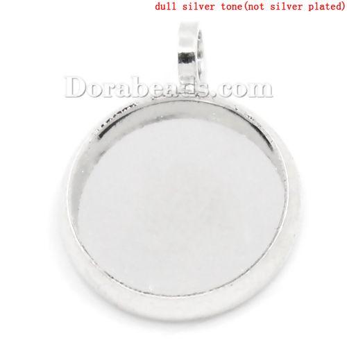Kupfer Cabochon Fassung Anhänger Rund Silberfarbe (für 10mm D) 15mm x 12mm 3 Stück