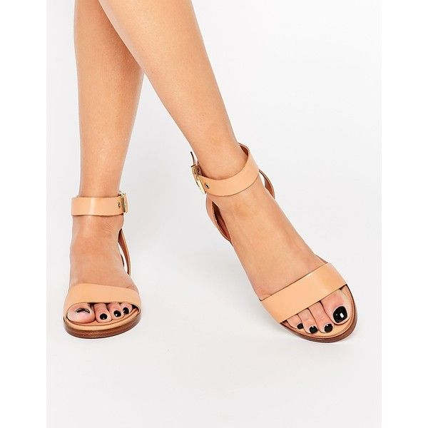 ALDO Erina Nude Simple Strap Flat Sandals (225 BRL) ❤ liked on Polyvore featuring shoes, sandals, nude, leather shoes, leather flat shoes, flat leather sandals, beige shoes and genuine leather shoes