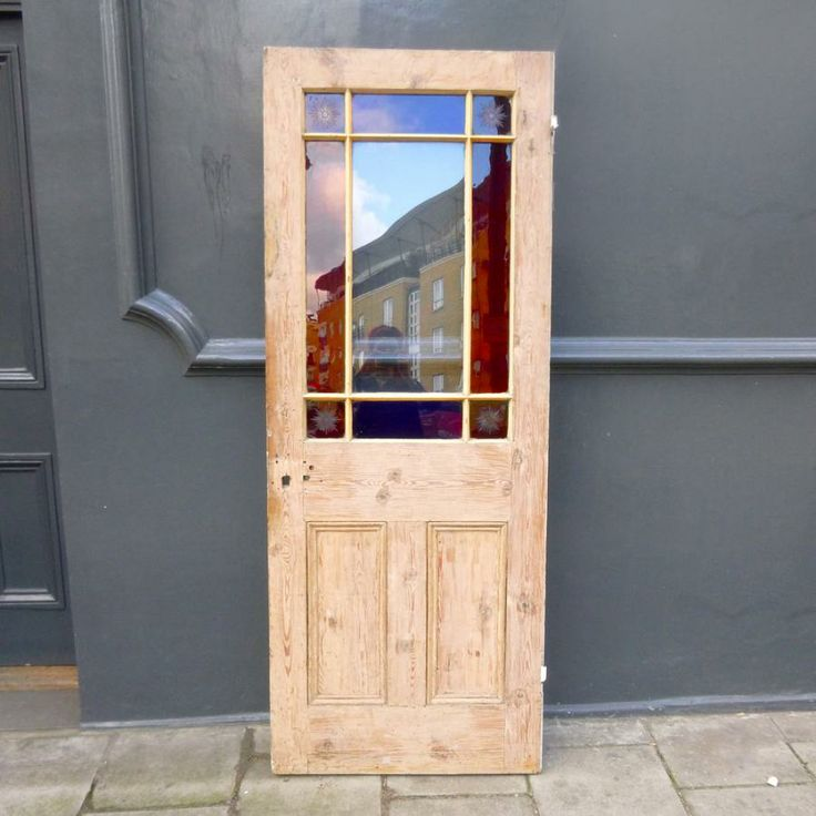 Reclaimed Victorian door has richly coloured blue and red stained glass,  with a plain glass - 47 Best Doors - Reclaimed & Antique For Sale Images On Pinterest