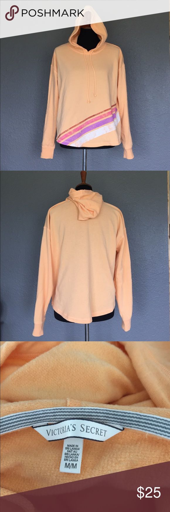 """Victoria Secret Hoodie EUC VS beach hoodie. Light weight, curves hemline. Measures 21"""" from top of shoulder to hem and sleeves measure 24"""".  Great for summer nights and fun bright colors. A little bit retro! Victoria's Secret Tops Sweatshirts & Hoodies"""