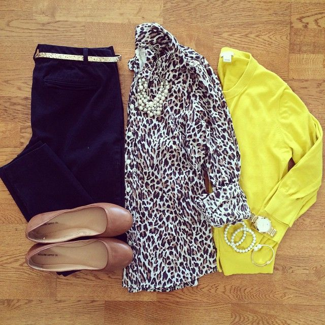 Leopard Shirt, Mustard Cardigan, Old Navy Pixie Pants, Cognac Flats | #workwear #officestyle #liketkit | www.liketk.it/19Ivj | IG: @whitecoatwardrobe