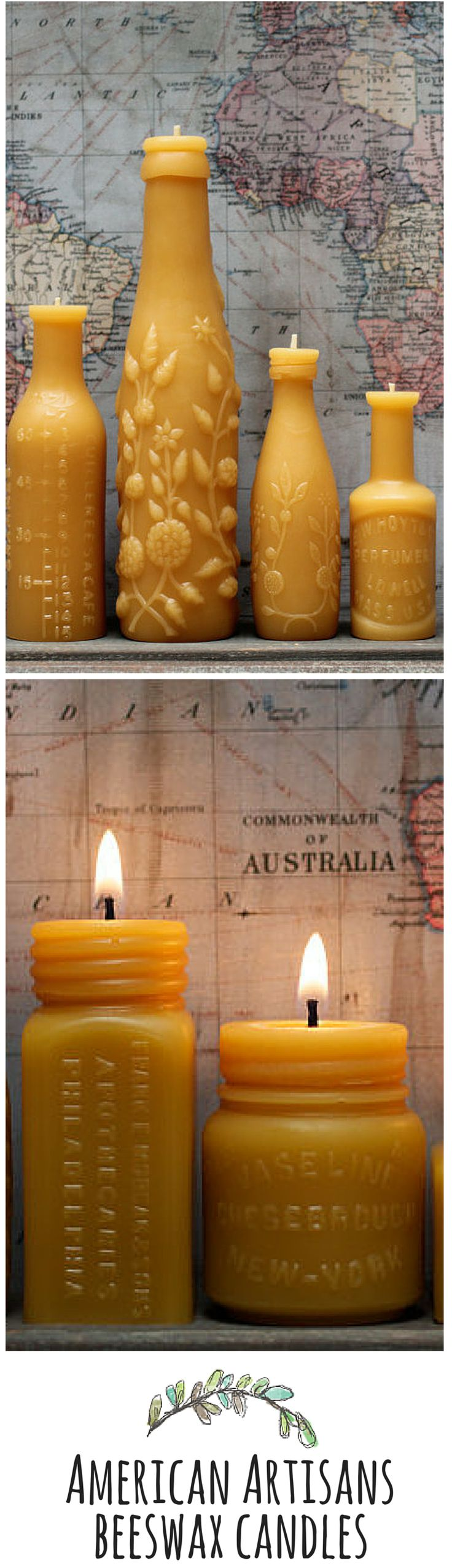 Gorgeous handmade beeswax candles molded in the shape of antique bottles from PollenArts!