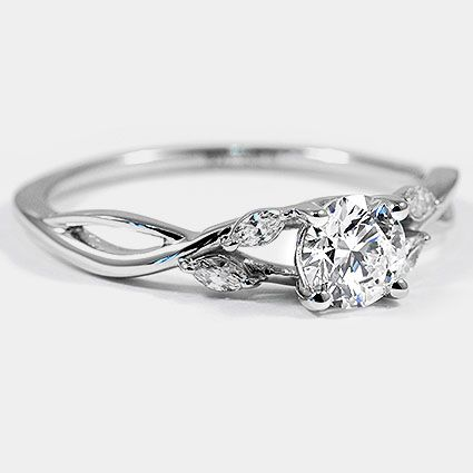 18 Karat Weißgold Willow Diamond Ring / / Set mit einem 0,62 Karat, Runde, Ideal Cut, D …