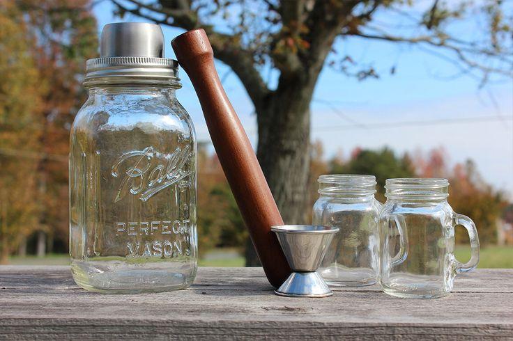 Mason Jar Cocktail Shaker Gift Set with Vintage Mason Jar, Stainless Steel Cocktail Lid, Muddler, Jigger and 2 Mini Mason Jar Shot Glasses by SouthernHomeSupply on Etsy https://www.etsy.com/listing/254909215/mason-jar-cocktail-shaker-gift-set-with