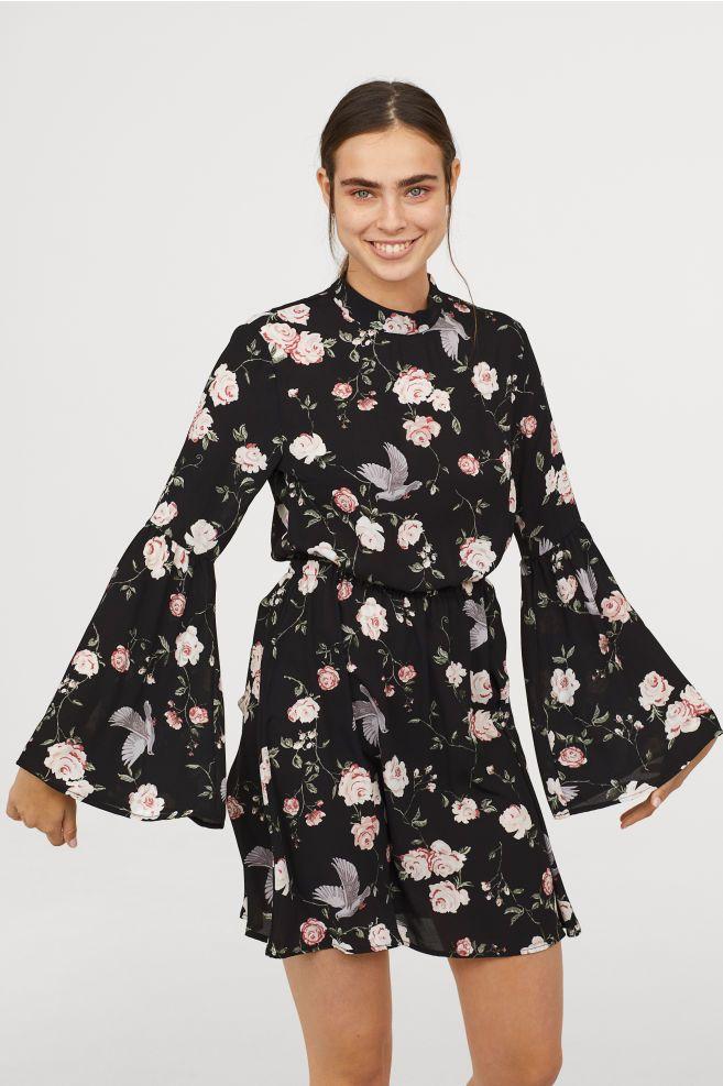 aa5446f17f3a H&M Patterned Dress - Black | To Buy | Dresses, Dress patterns ...