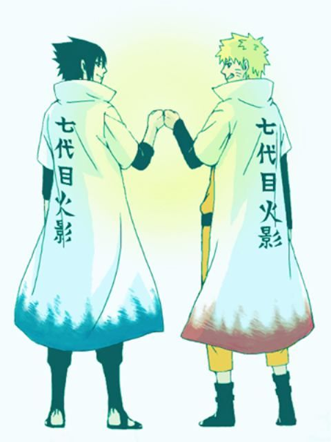Naruto and Sasuke. All be it Sasuke looks cool in a Hokage coat, only Naruto can be Hokage!