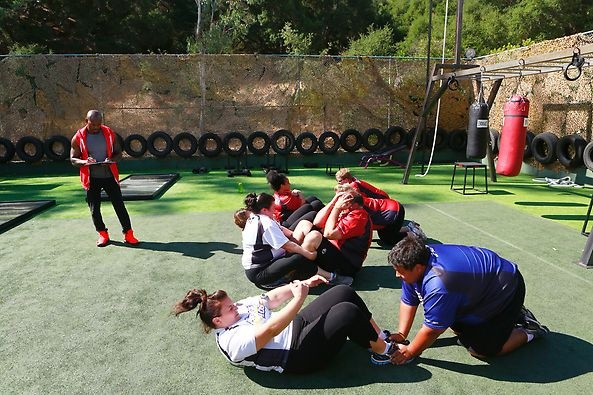 Some tough crunches during the fitness test. #BiggestLoser