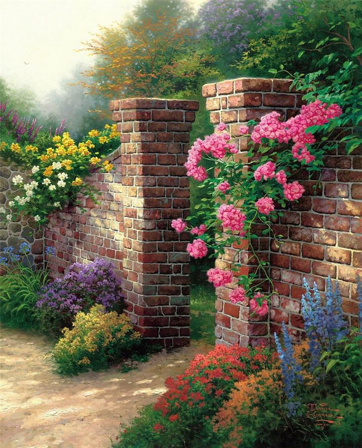 thomas kinkade rose garden studio proof on canvas complete colection of art limited editions prints posters and custom framing on sale now at prints - Flower Garden Paintings