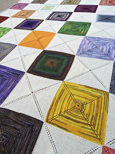 Barn Raising Quilt Pattern Free Knitting : scrap-buster *pattern: barn raising quilt* *yarn: 405g sock yarn scraps, knit picks palette ...