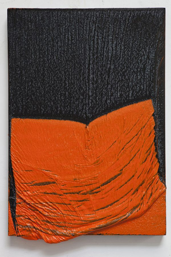 Bedfellows (orange-black) Alexis Harding.  oil and gloss paint