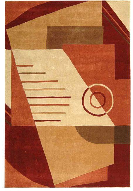 Warm tones make this rug an outstanding modern choice, Safavieh Handmade Village Rust/ Multi N. Z. Wool Rug (9'6 x 13'6)