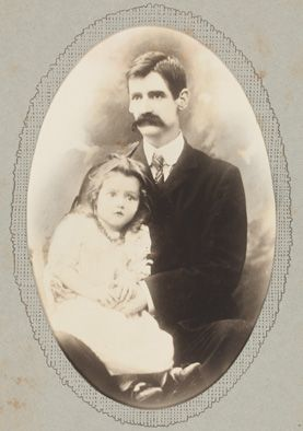 Henry Lawson with his daughter Bertha Louisa, c.1902, photoprint from the collection of the State Library of New South Wales