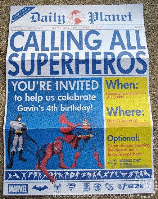 "Superhero Birthday Invitations Printable....do something like this, only for ""race day"""