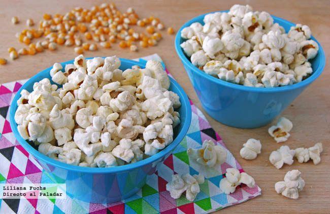 Receta de palomitas de maíz para elaborarlas en casa. Con fotografías del paso a paso, consejos y sugerencias de degustación. Cómo hacer palmit...