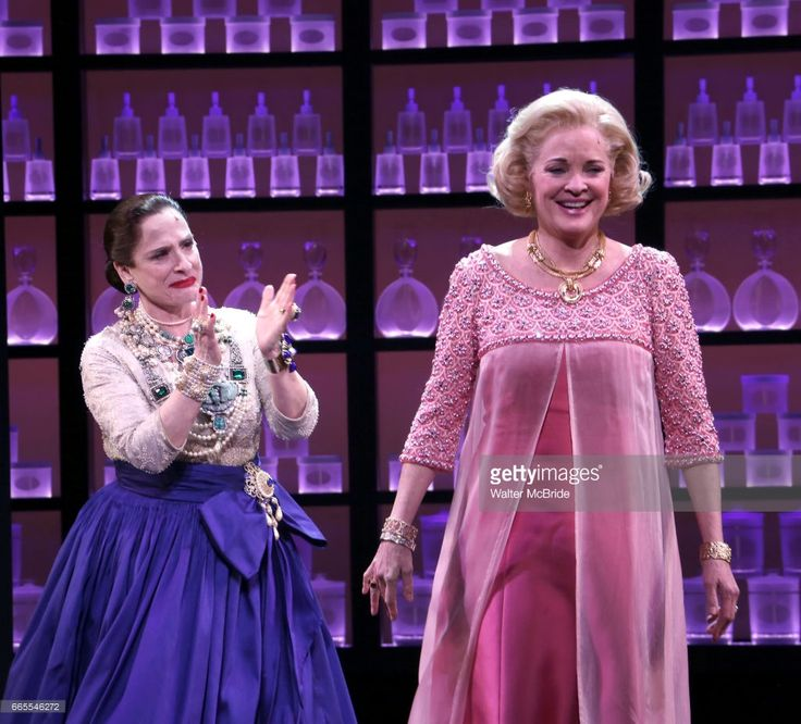 Patti Lupone and Christine Ebersole during the Broadway opening night performance curtain call for 'War Paint' at the Nederlander Theatre on April 6, 2017 in New York City.