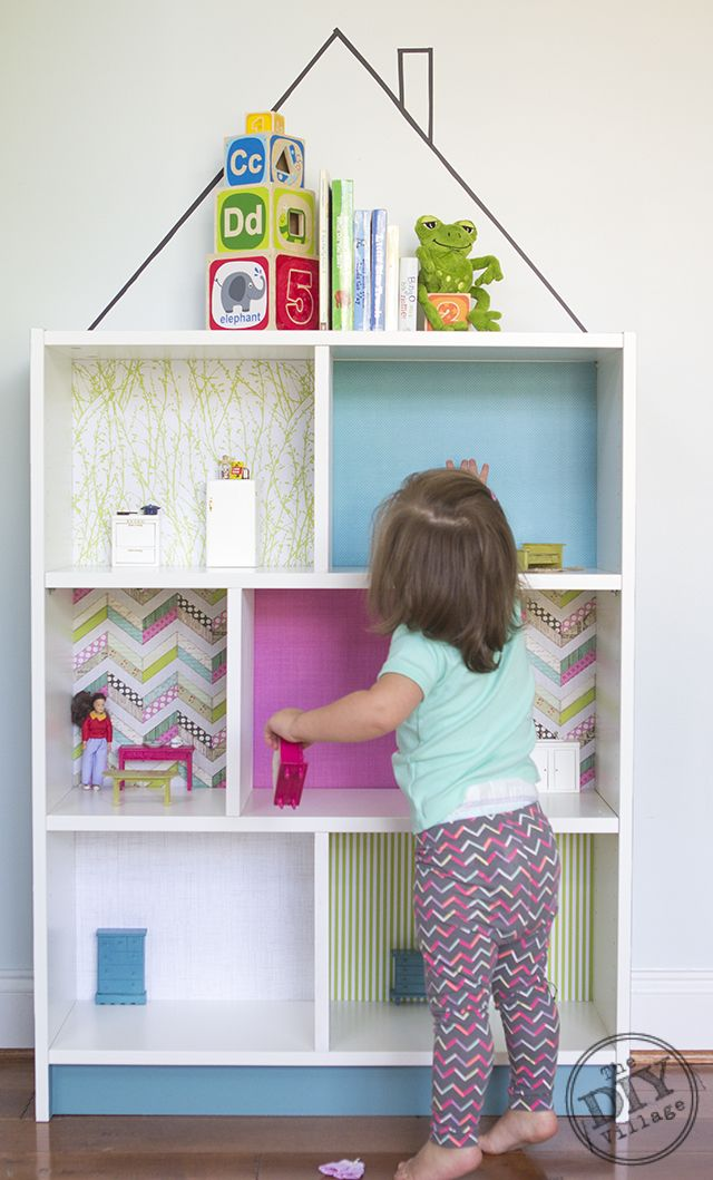 """DIY Dollhouse IKEA Billy Hack. So, entry """"table?"""" Could be pretty cute with some tight fitting box drawers and reclaimed wood for the walls."""