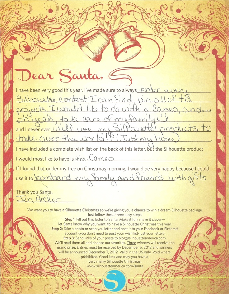 My letter to Silhouette Santa!!! | Craft Ideas | Pinterest
