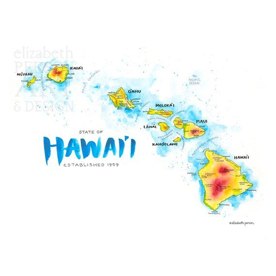 Hawaii Map Watercolor Illustration Hi Hawaiian Islands Hawaii Etsy Hawaiian Islands Map Map Of Hawaii Map Wall Art