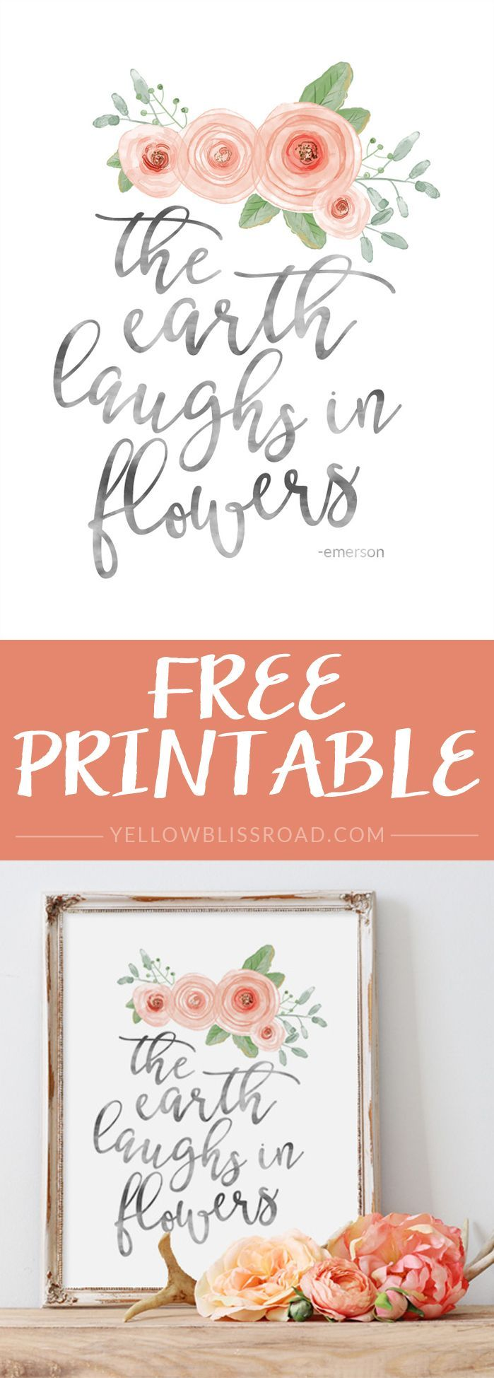 Free Spring Printable - The Earth Laughs in Flowers