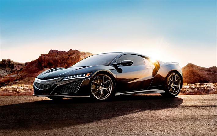 Télécharger fonds d'écran Acura NSX, 2017 voitures, désert, coucher de soleil, noir nsx, les voitures japonaises, Acura
