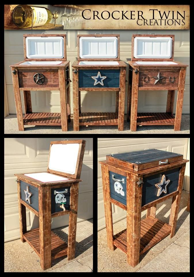 Custom rustic coolers including Dallas Cowboys! by Crocker Twin Creations, Lewisville, TX