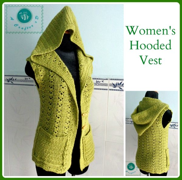 Women's Hooded Vest - free crochet pattern