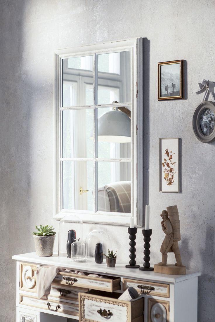 Spiegel in Fenster-Optik | teilmassive Oberflächen aus Tannenholz in Vintage-Optik weiß lackiert | Maße ca. 64 x 104 cm (BxH). #deco #spiegel  #accessoires #landhaus #modern