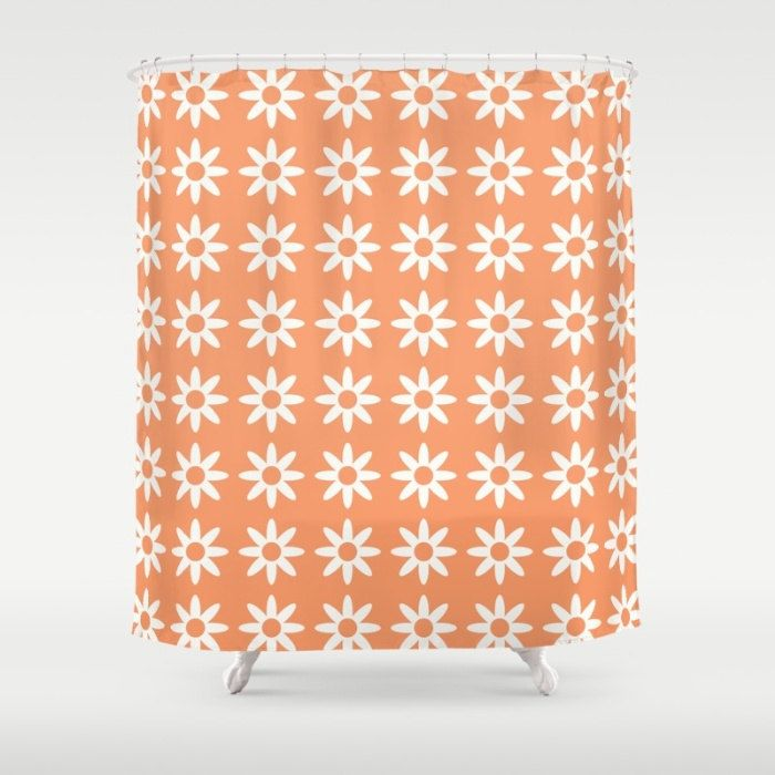 36 colours, Daisy Flower Pattern Shower Curtain, Scandinavian style, Peach Rose, geometric shower curtains, flower pattern bathroom decor by ThingsThatSing on Etsy                                                                                                                                                                                 More