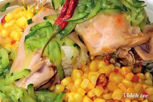 Cukkinivel párolt nyúlcomb chilis kukoricával - Vidék Íze