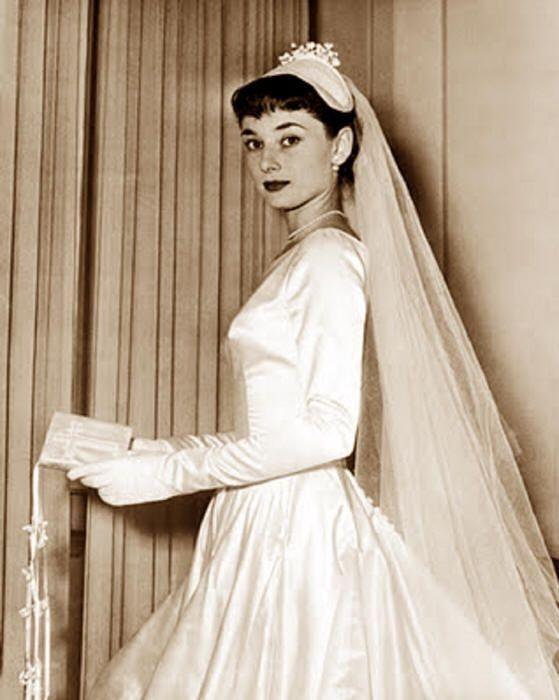 Audrey Hepburn in her first wedding dress, 1954.