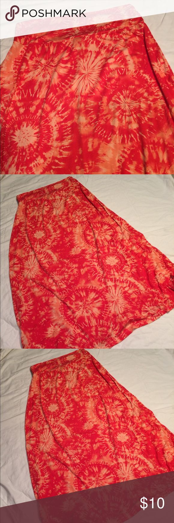 L.A. Apparel Boho,Hippie,Tie Dye Maxi Skirt-Sz- L L.A. Apparel Boho, hippie, casual. Tie Dye Maxi Skirt.  Size - Large  Soft cotton with some lycra for stretch. Machine wash, tumble dry low.  Size - Large * Wide Elastic Waist Band, * Gathered on each side. * Slimming Waistline  * Very Soft T-Shirt Type Fabric  * Color's- Orange & Cream  * Cotton Blend  * Full Length  IN EXCELLENT LIKE NEW CONDITION! COMES FROM SMOKE AND PET FREE ENVIRONMENT! 👓 BE SURE TO CHECK OUT MY OTHER LISTINGS 👓 L.A…