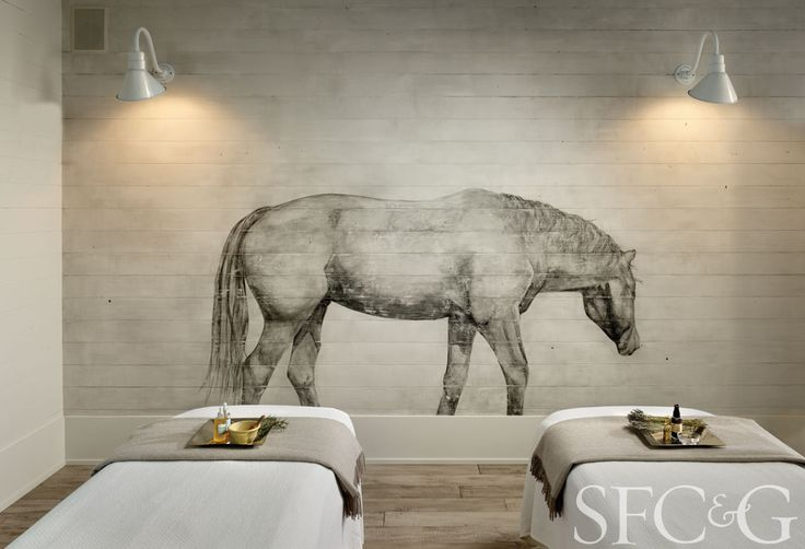 The walls of the Farmhouse Inn's spa are painted with equestrian-inspired murals.