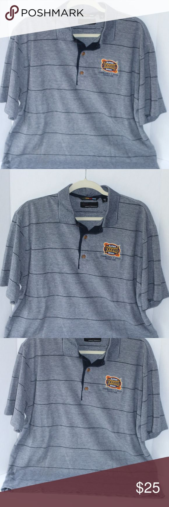 """Greg Norman Superbowl XXXVIII Polo Shirt Size L Pre-Loved but in excellent condition, Greg Norman Super Bowl XXXVIII Polo Shirt Size L. Color Dark and light navy blue with horizontal stripes. Brown buttons. 100% Cotton and replacement button included. Slight fuzz (sign of wear) in the inside of the neck area but barely visible. Made in Peru. Approx 22"""" from armpit to armpit and approx. 27"""" from shoulder to hem. Greg Norman Shirts Polos"""