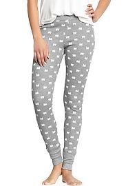 Women's Patterned Waffle-Knit PJ Leggings (gray, polar bear)