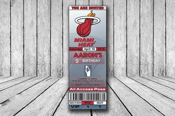 Miami Heat Invitation Miami Heat Birthday Invitation